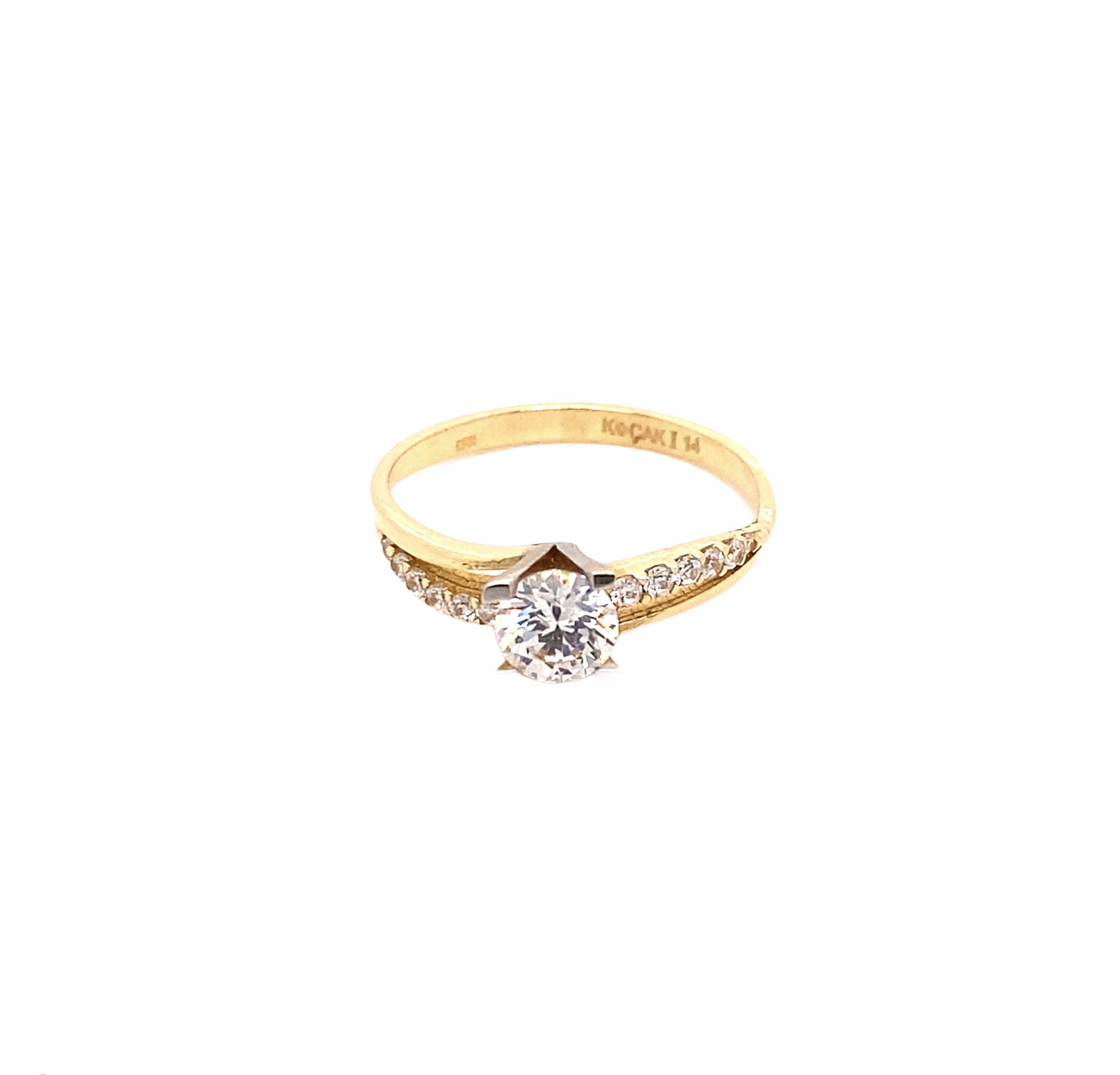 585 Kocak Gold Ring | Tek Tas Gr. 58