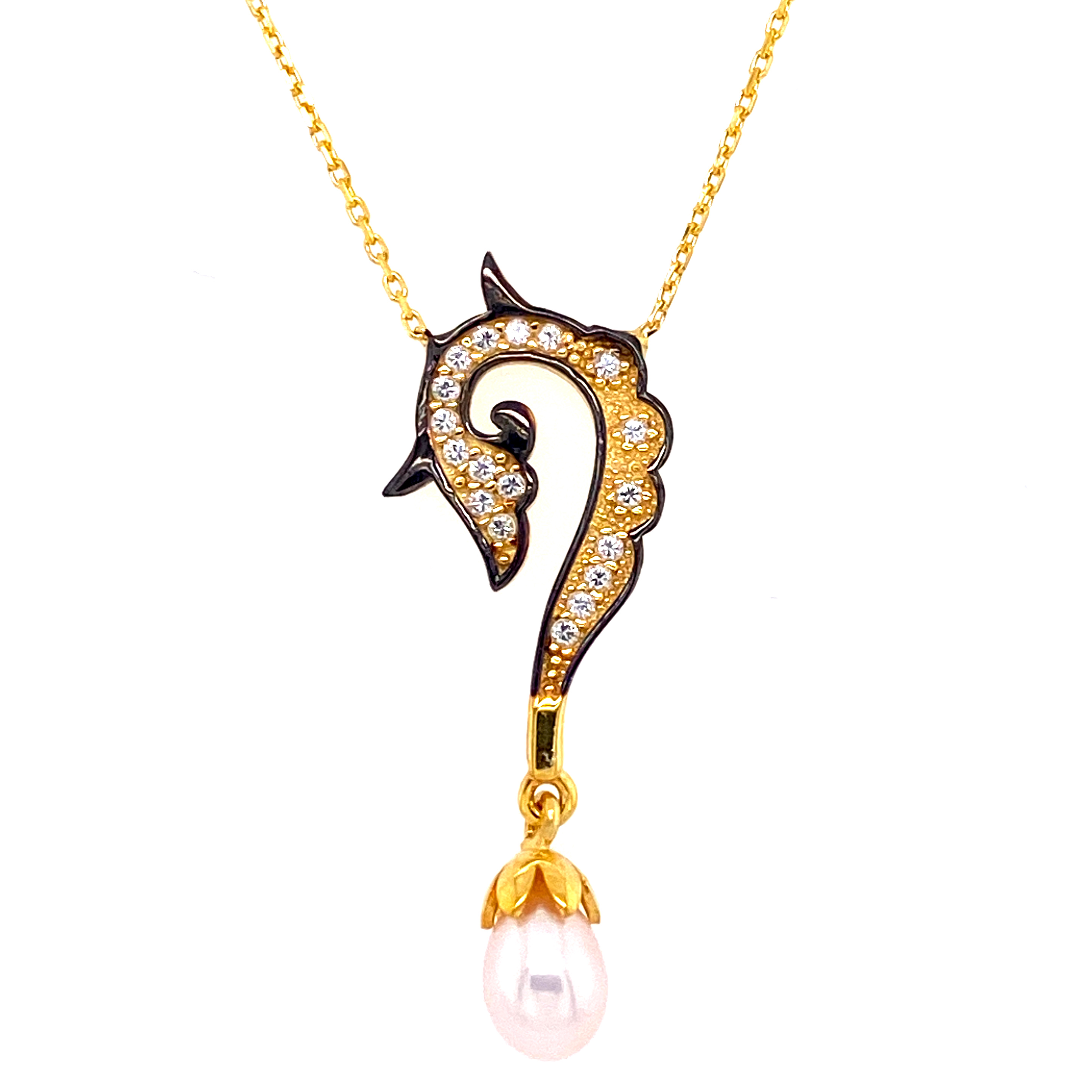 925 Silber Halskette | Seepferd Perle