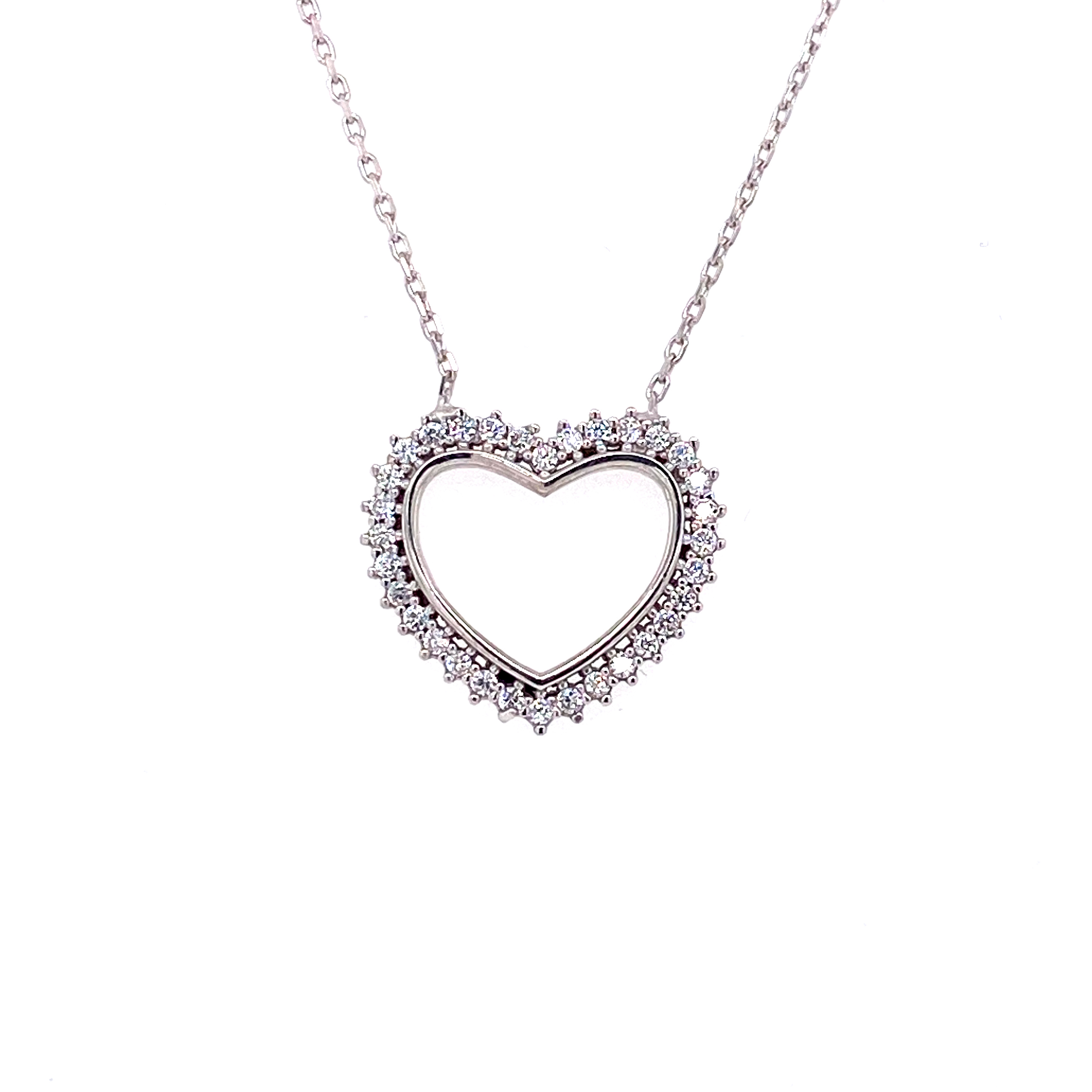 925 Silber Halskette | Herz Zirkonia