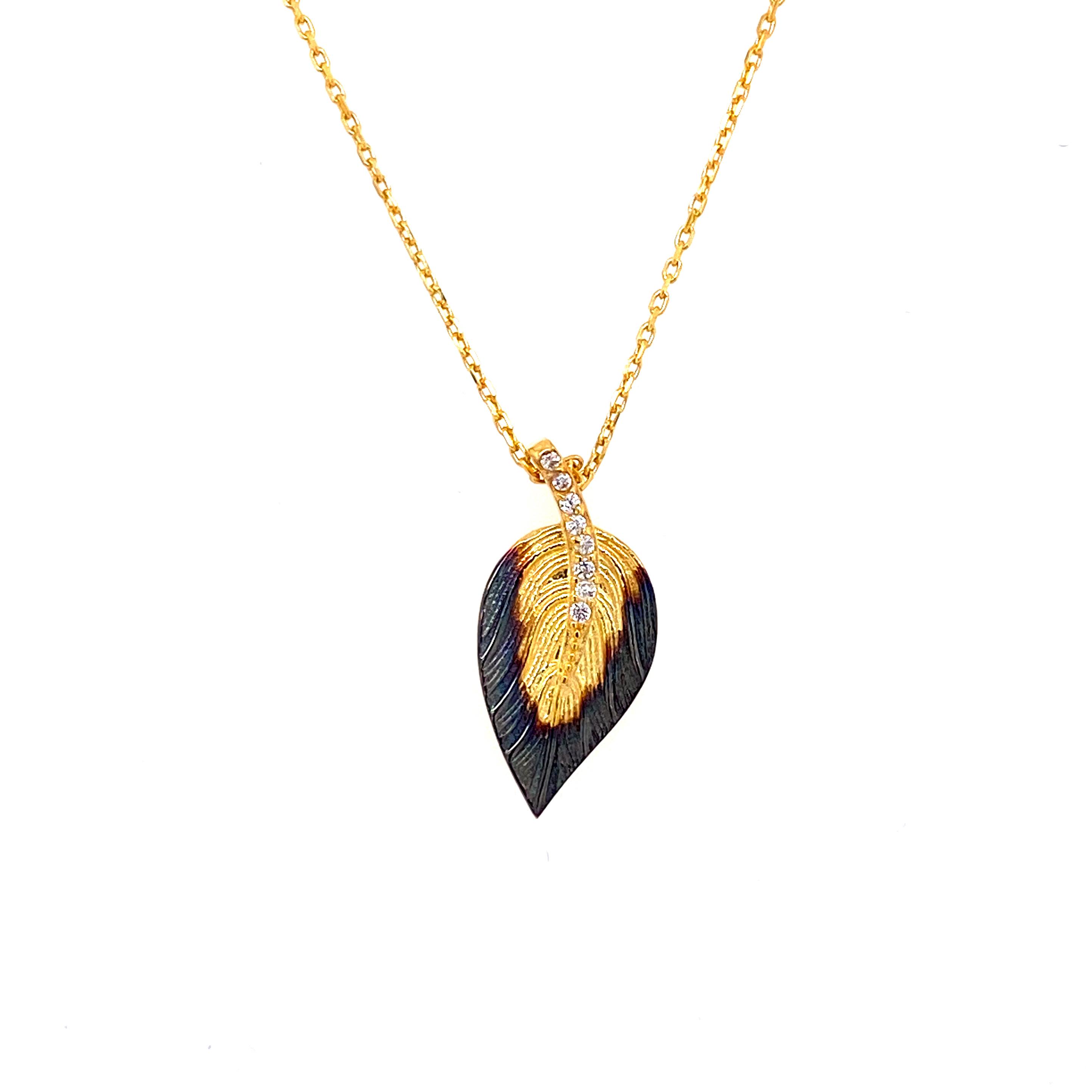 925 Silber Halskette | Blatt Zirkonia 2.1