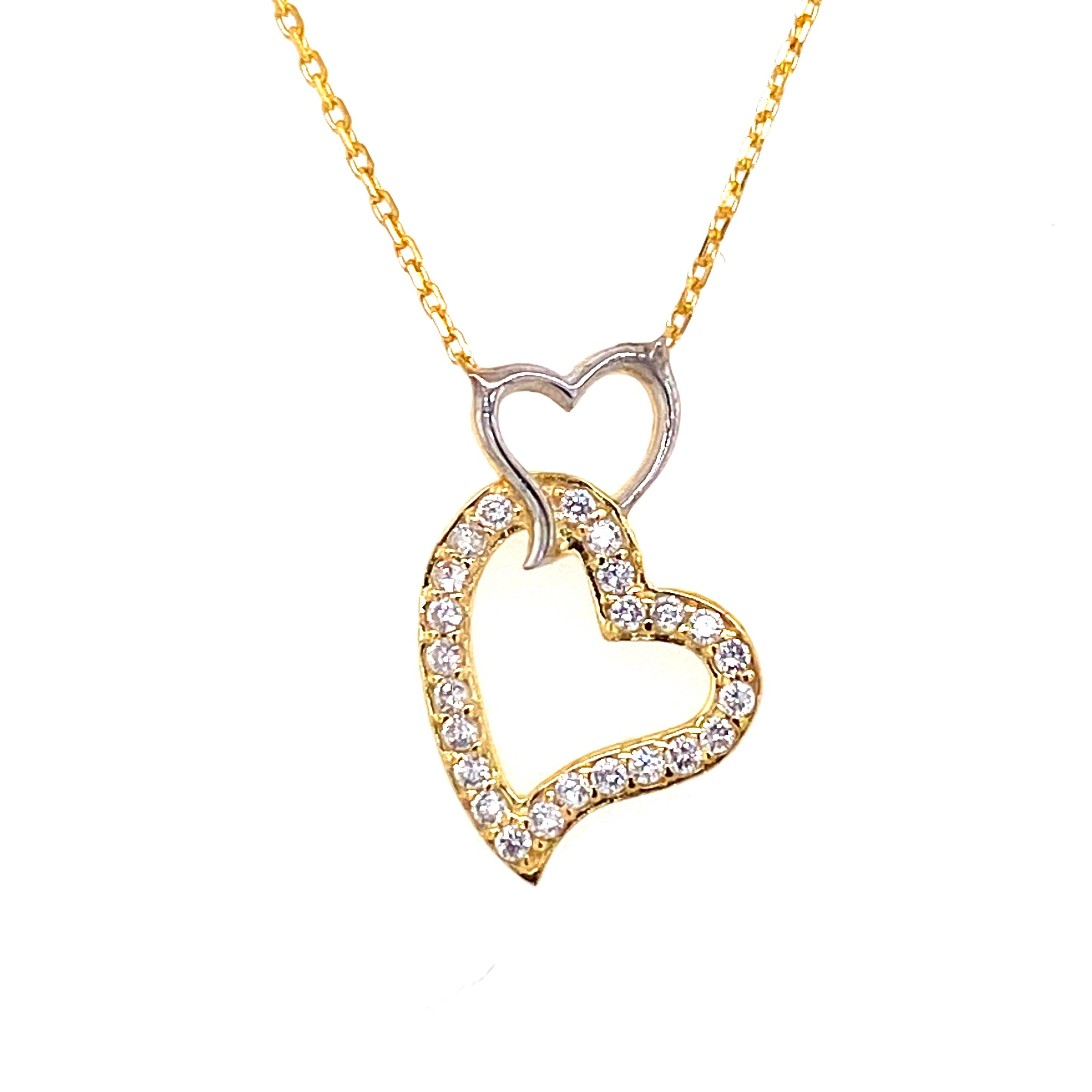 925 Silber Halskette |  Doppelherz