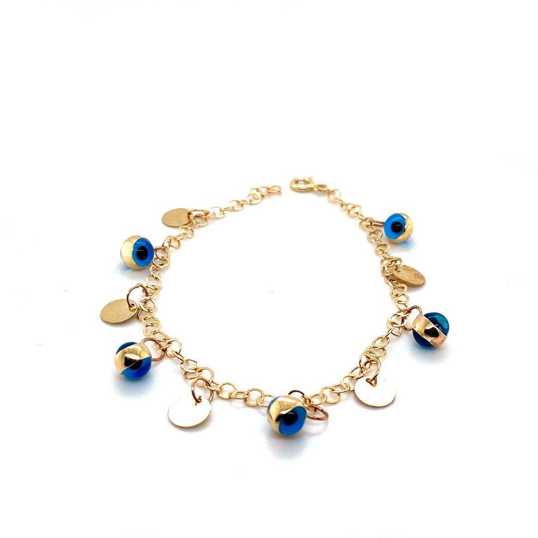 585 Gold Armkette | Blaue Augen
