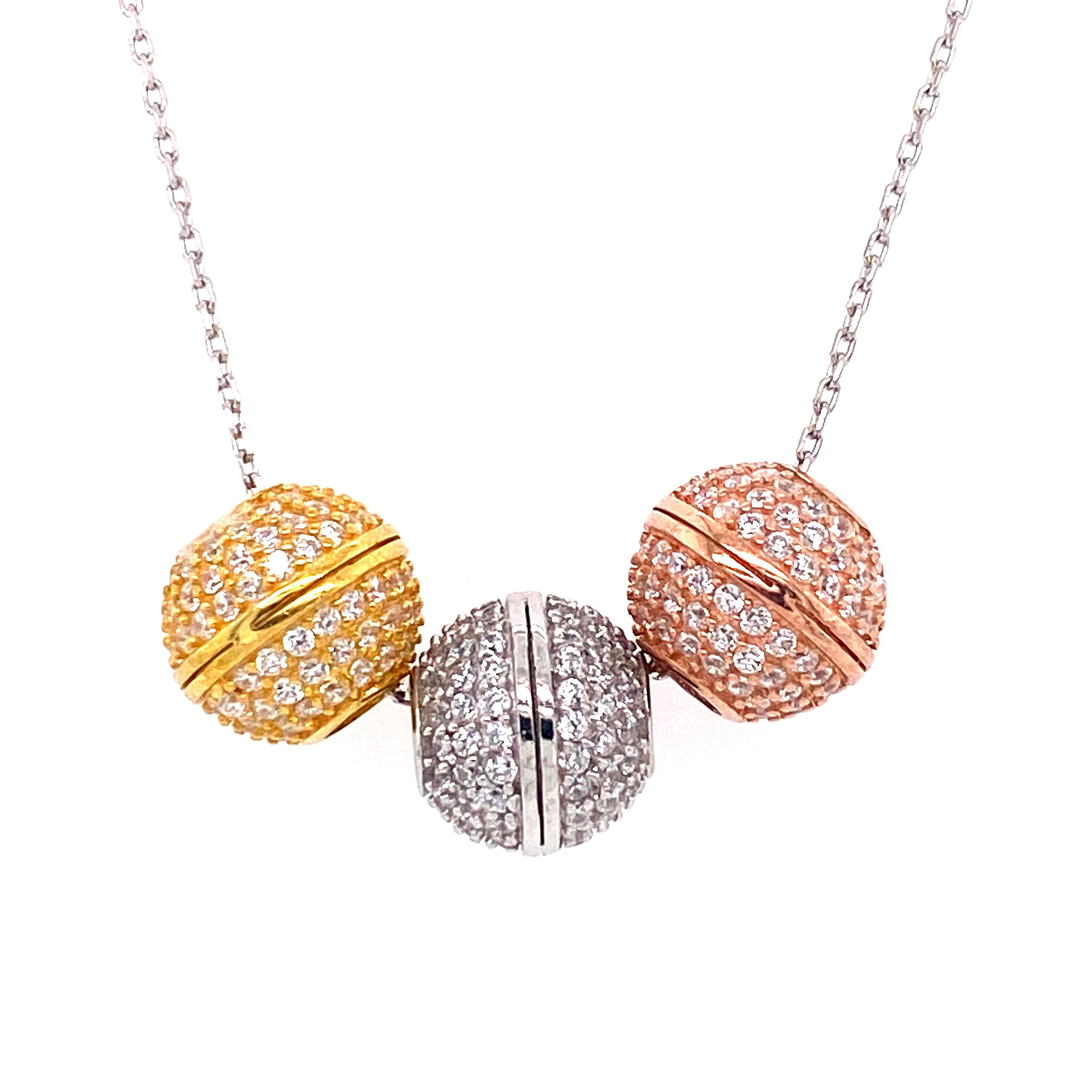 925 Silber Halskette | line Kugel