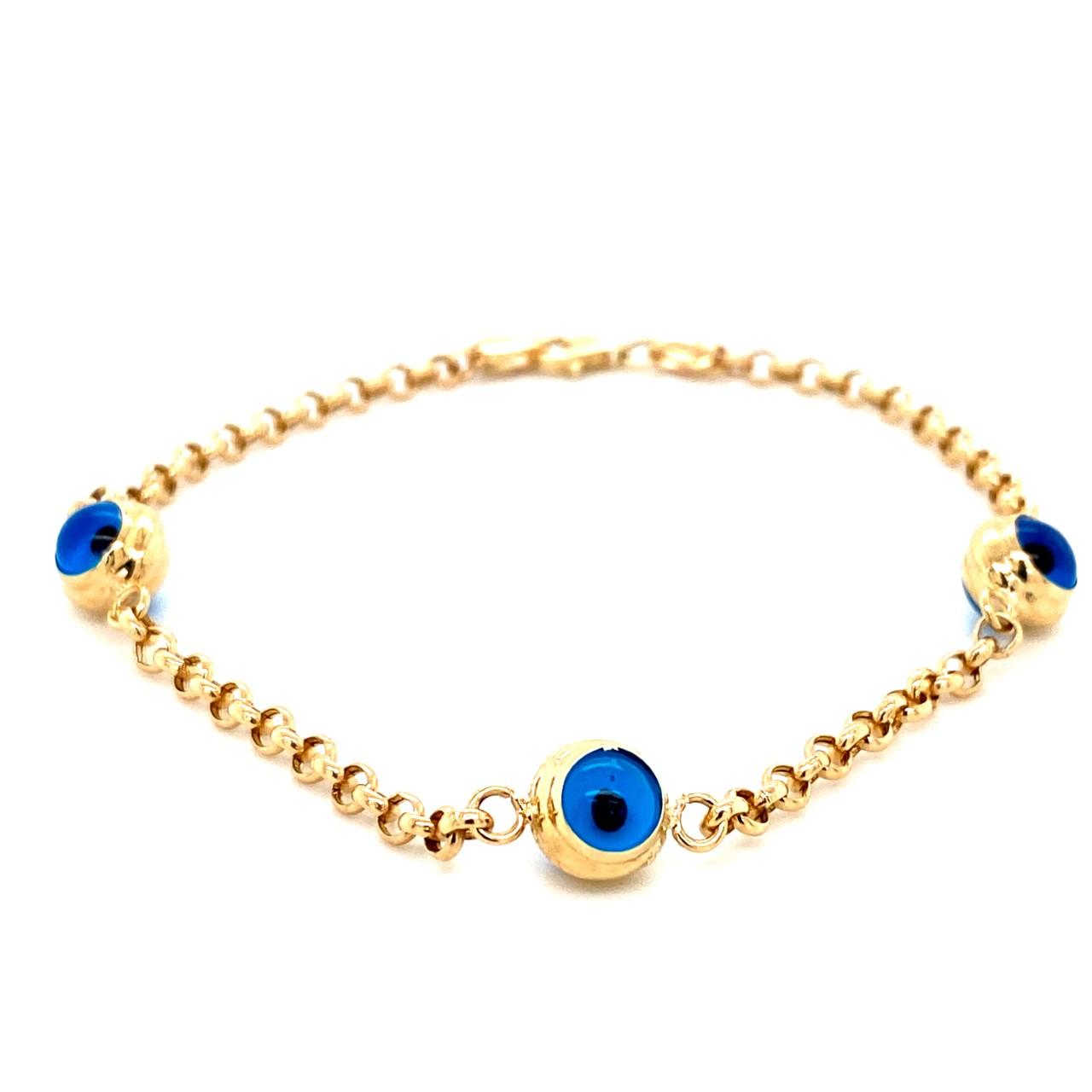 585 Gold Armkette   Three Nazar