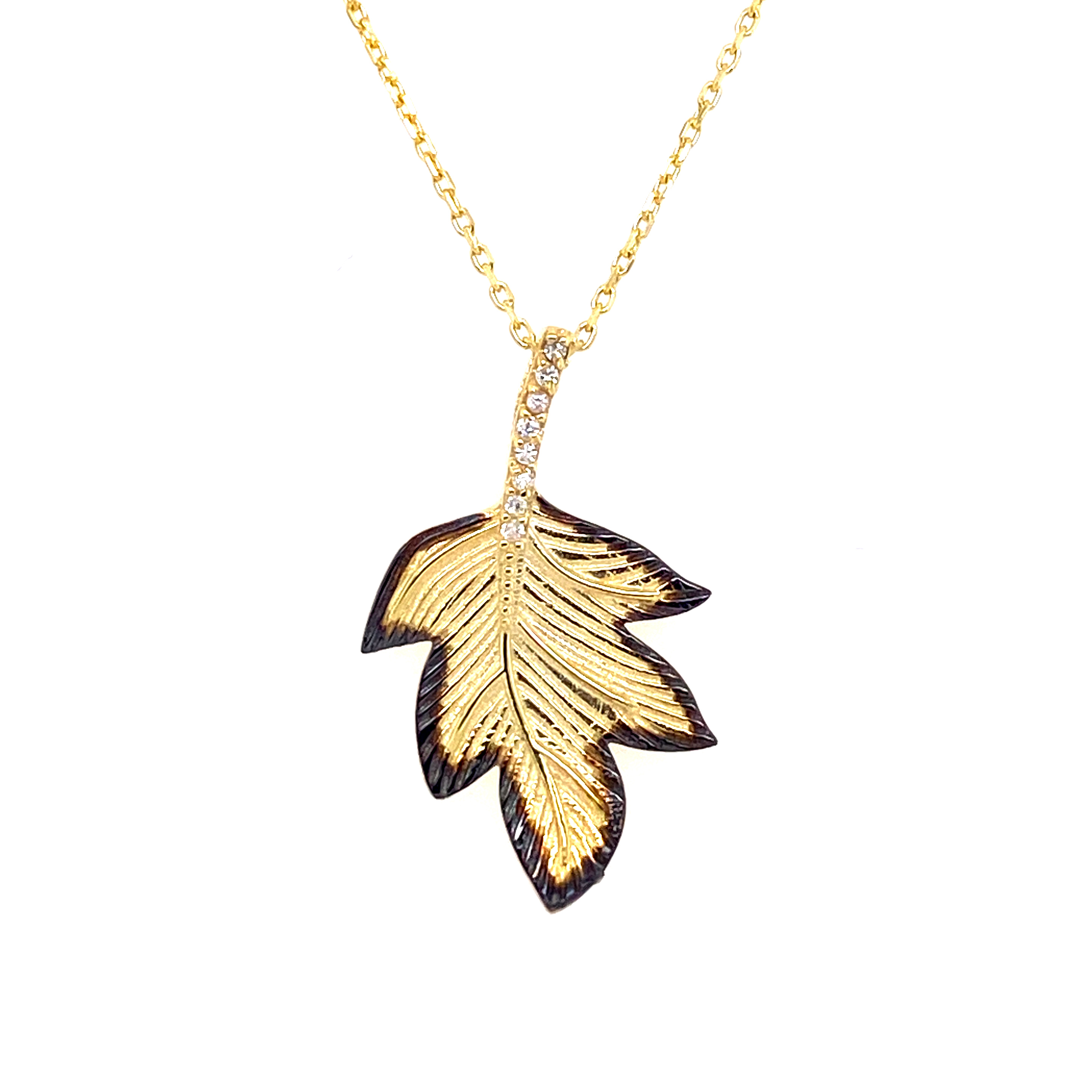 925 Silber Halskette | Blatt Zirkonia 2.0