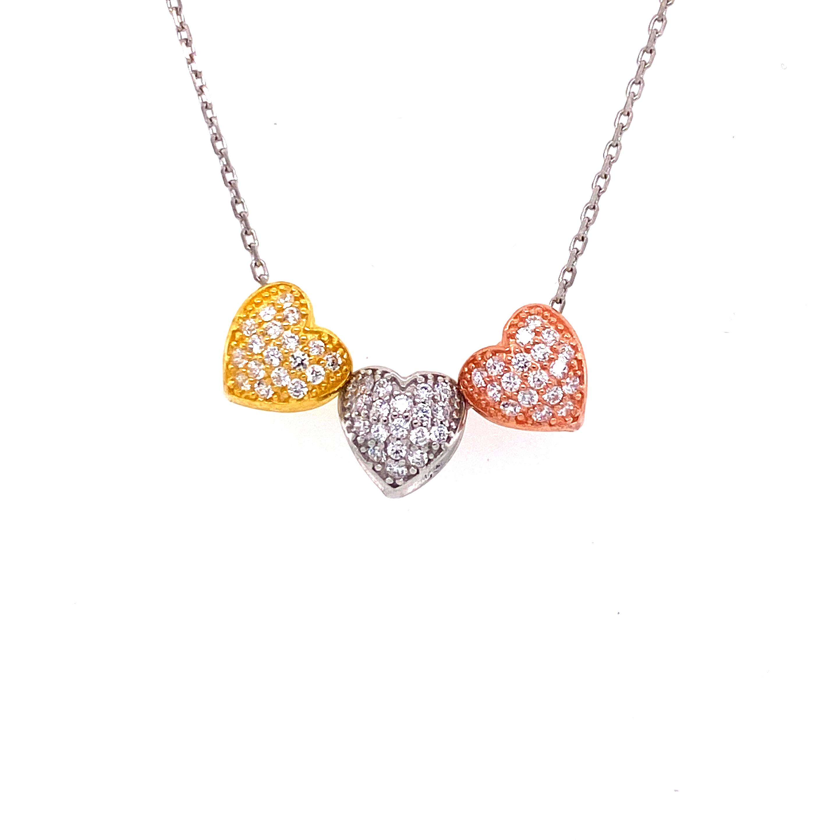 925 Silber Halskette | 3er Herz