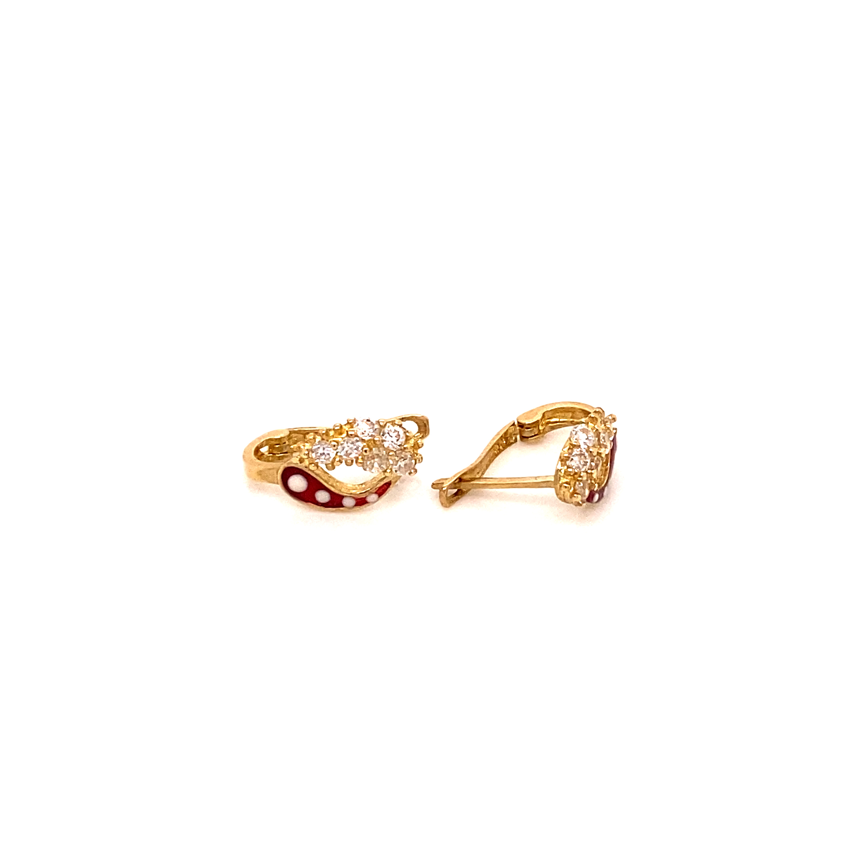 585 Gold Ohrring    Red White