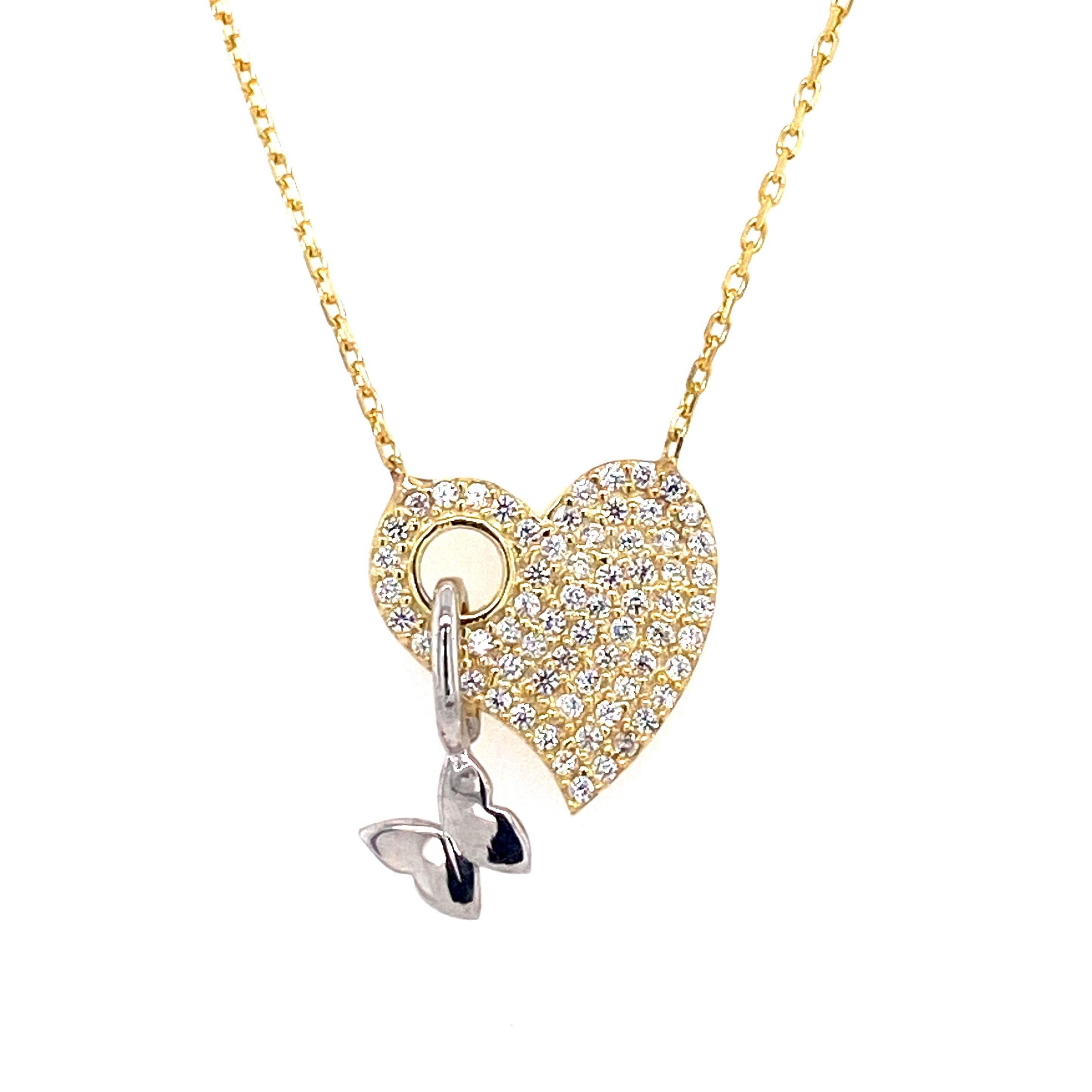 925 Silber Halskette |  Schmetterling Herz