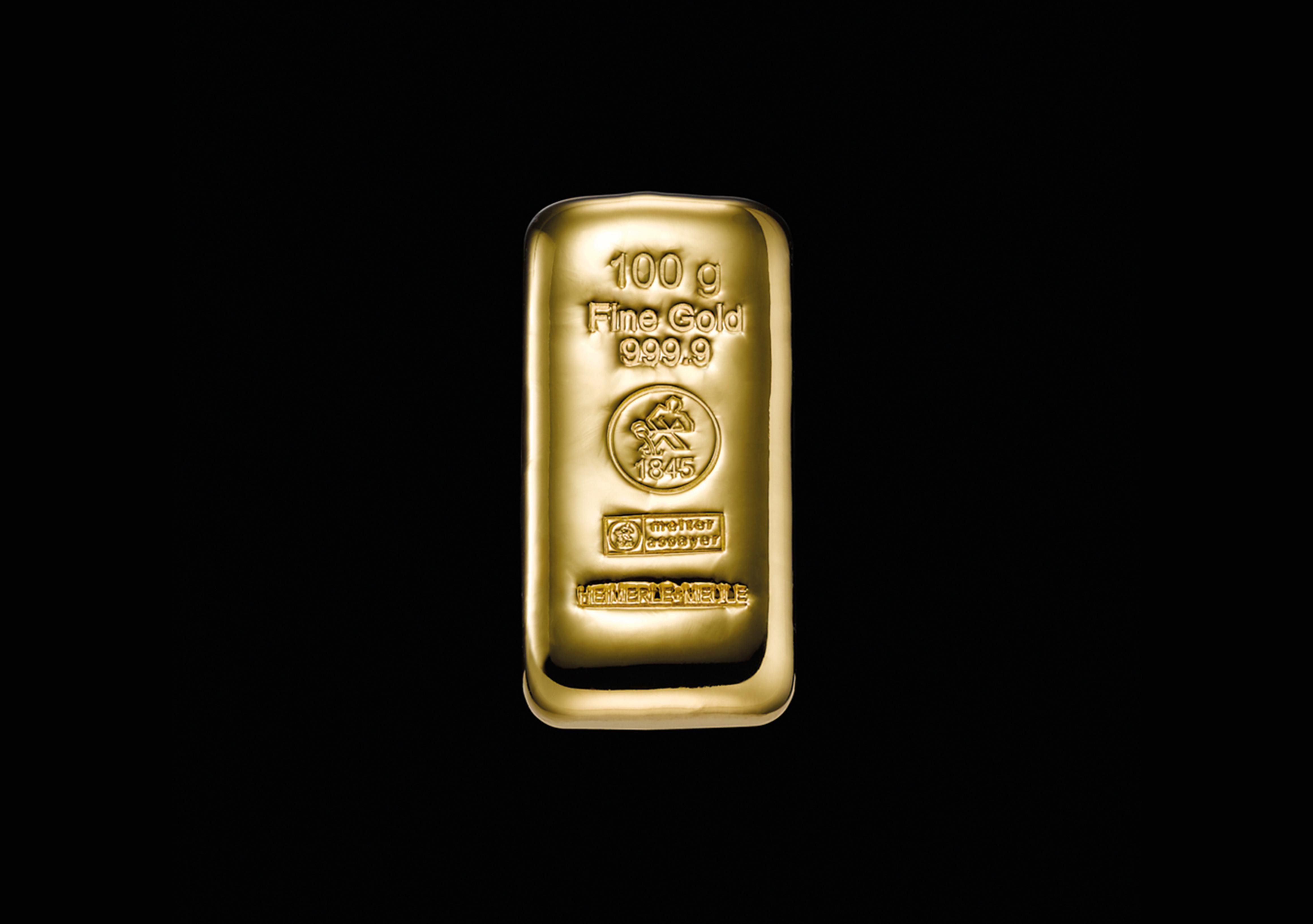 999 Fein Gold | 100 Gramm Goldbarren gegossen