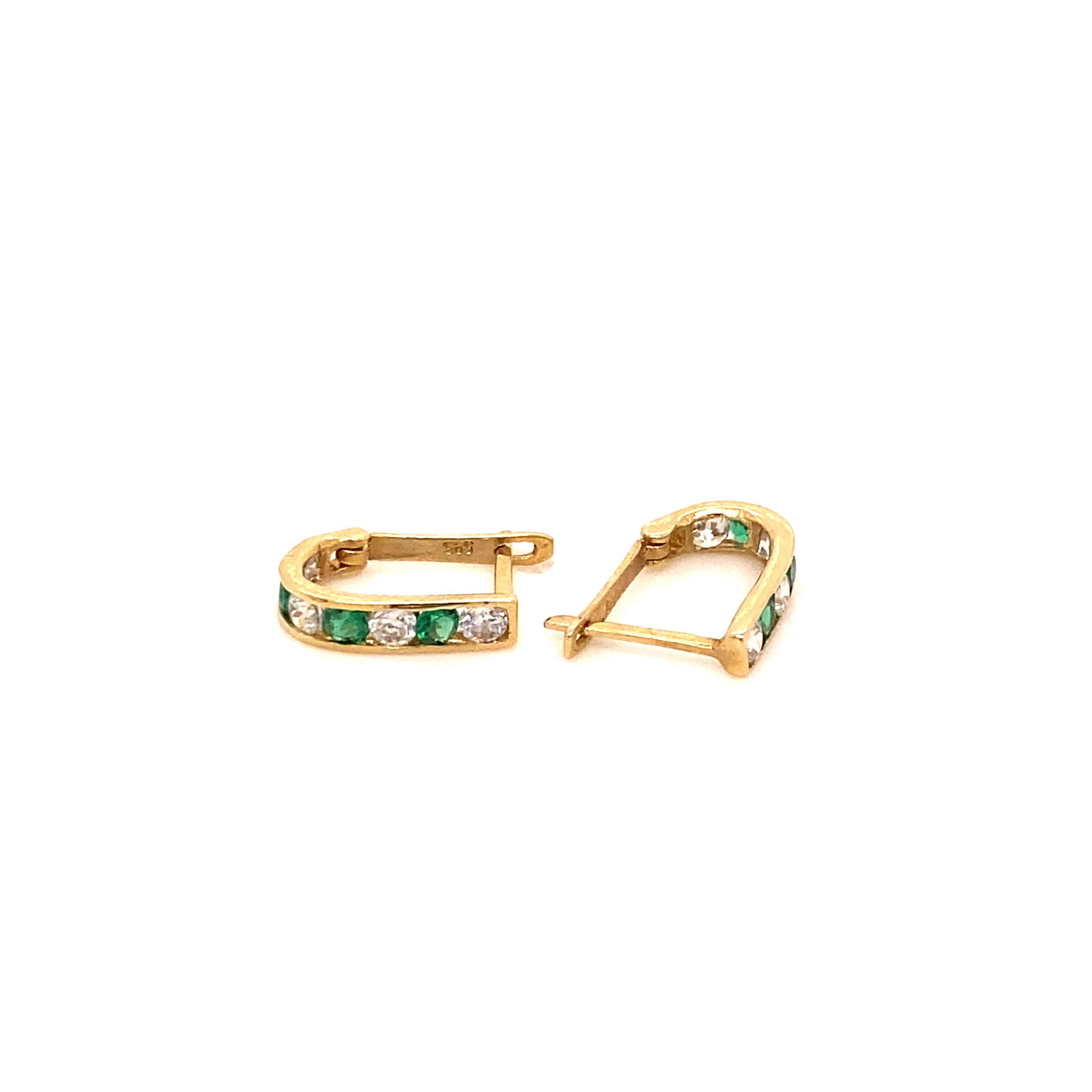 585 Gold Ohrring  |  Green one