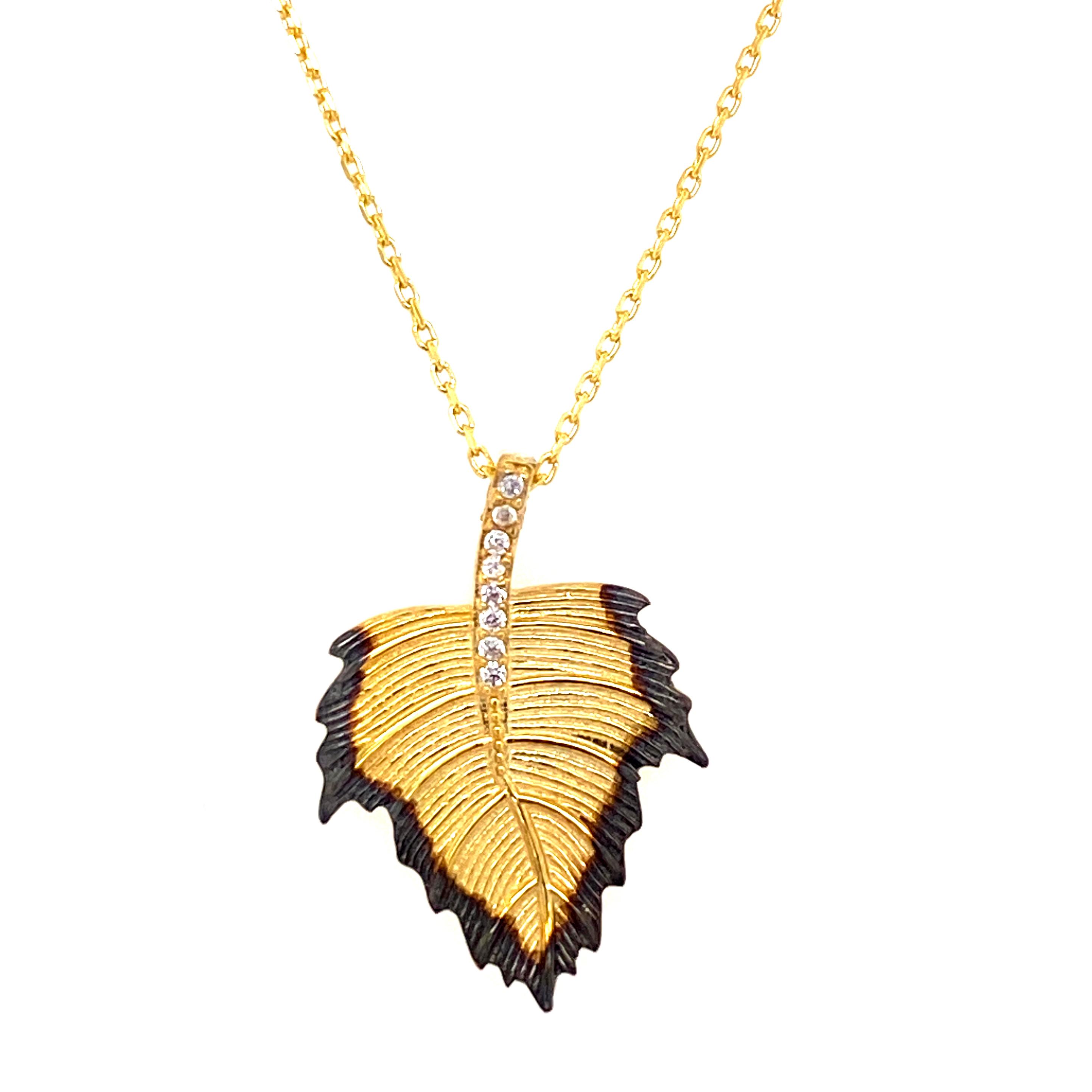 925 Silber Halskette | Blatt Zirkonia 2.2