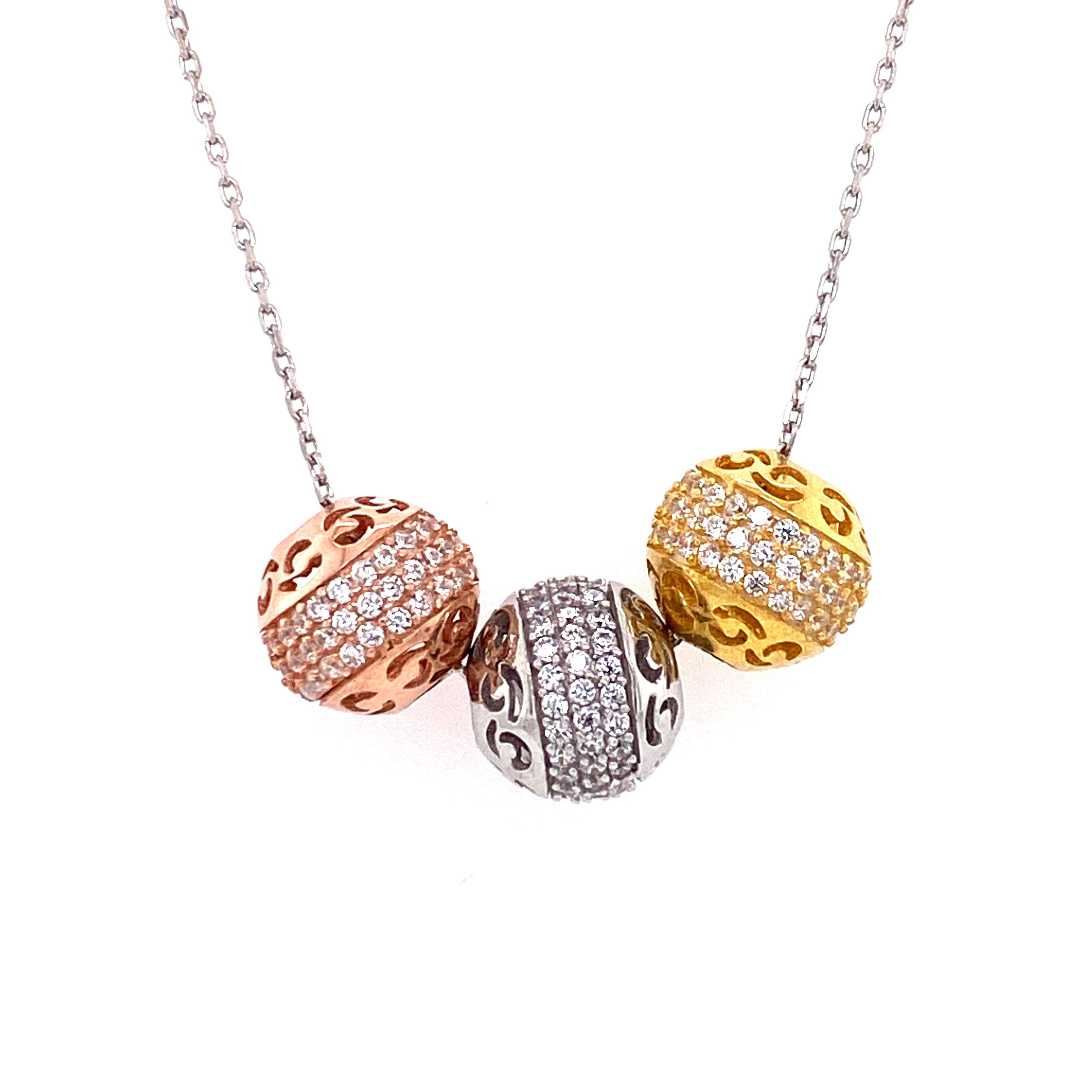 925 Silber Halskette | Motiv Kugeln
