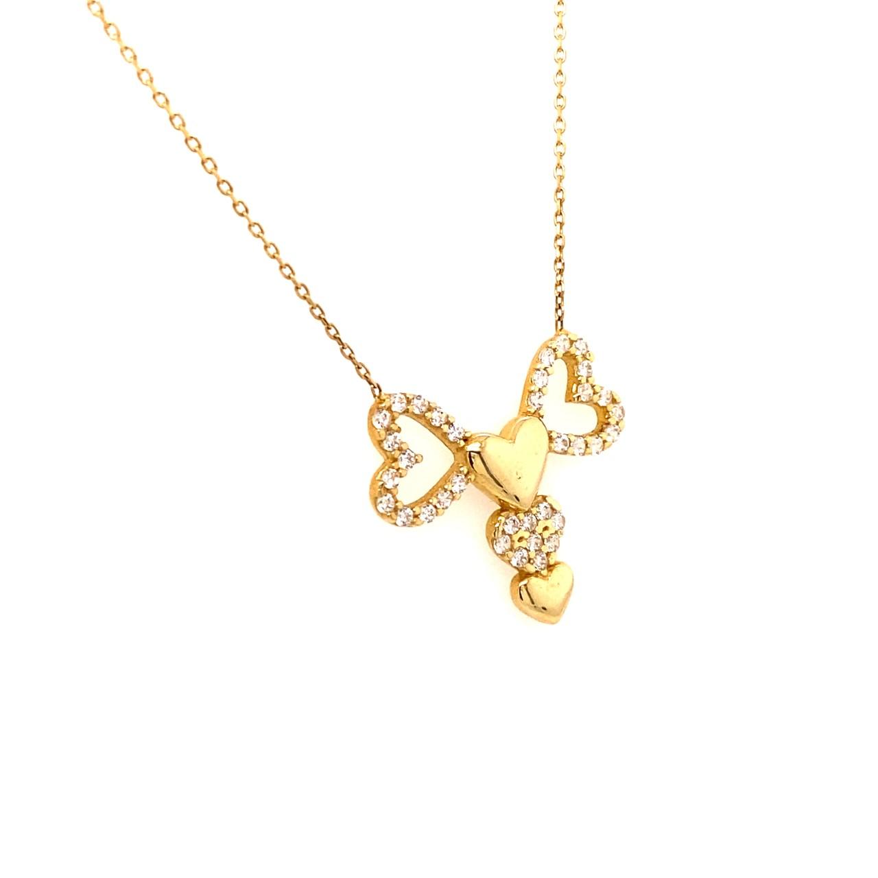 585 Goldkette | Herz Zirkonia