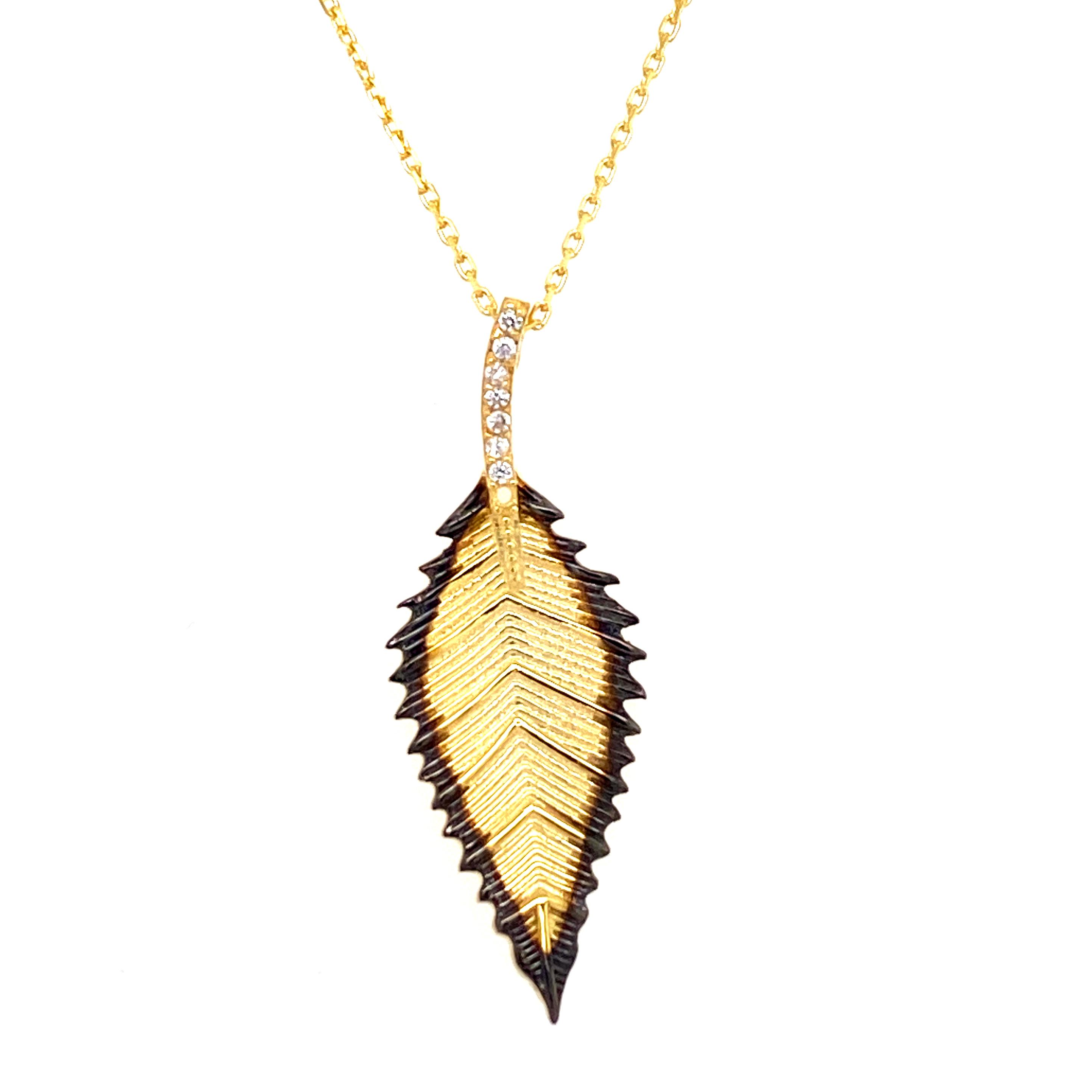 925 Silber Halskette | Blatt Zirkonia