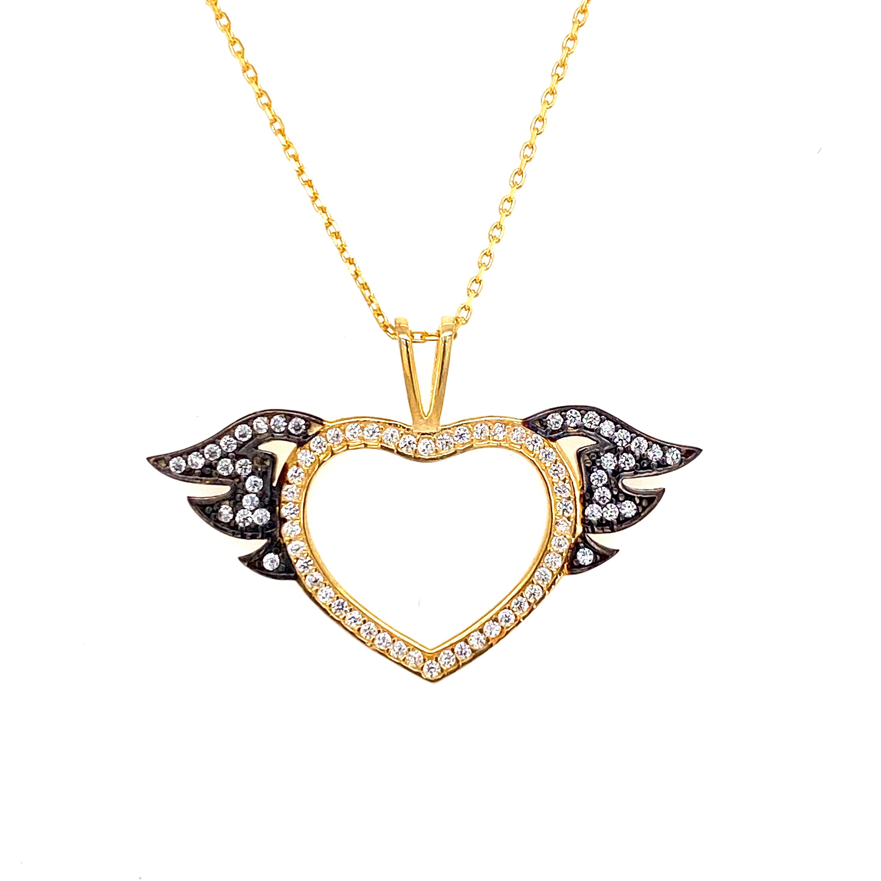 925 Silber Halskette | Herz Flügel
