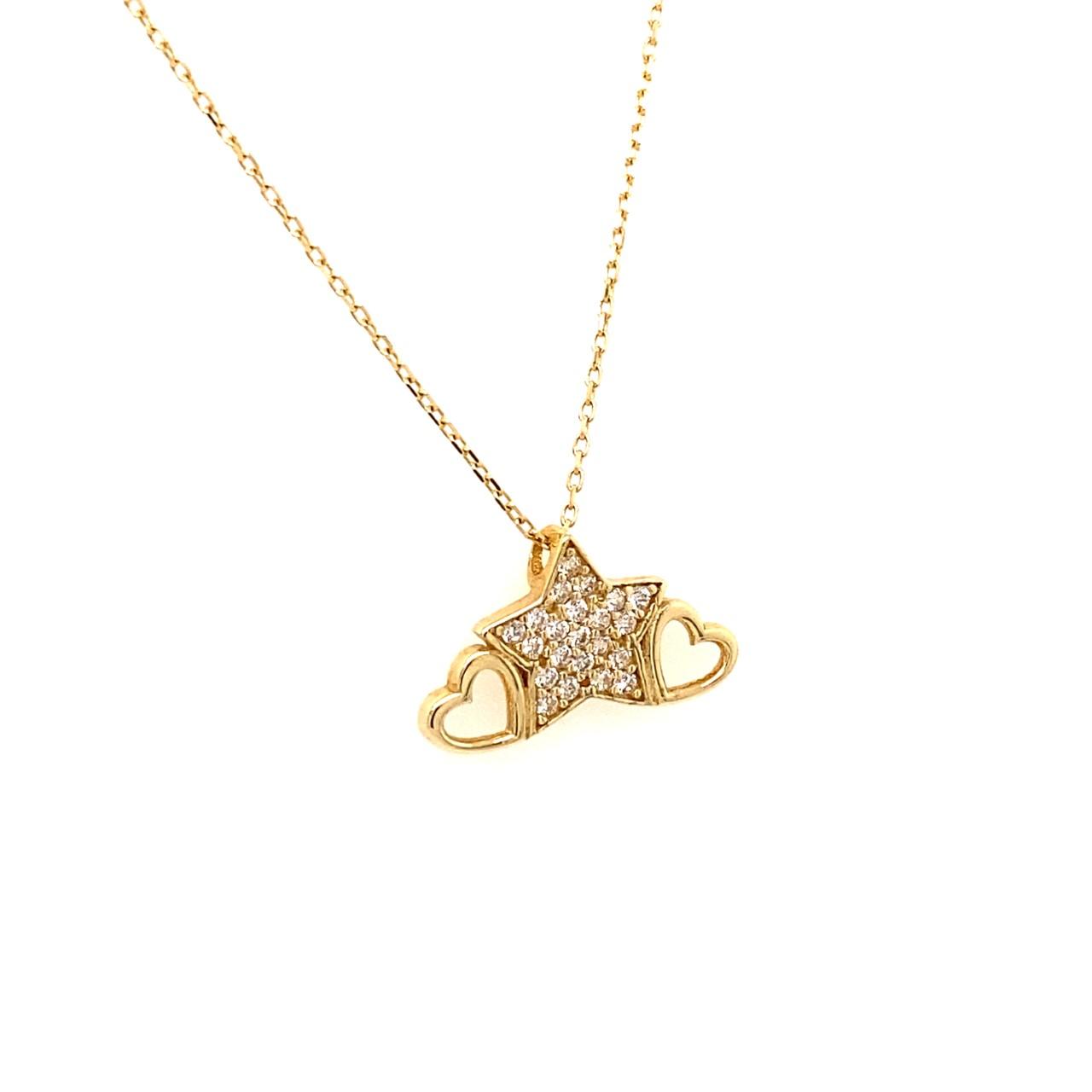 585 Goldkette | Stern Zirkonia