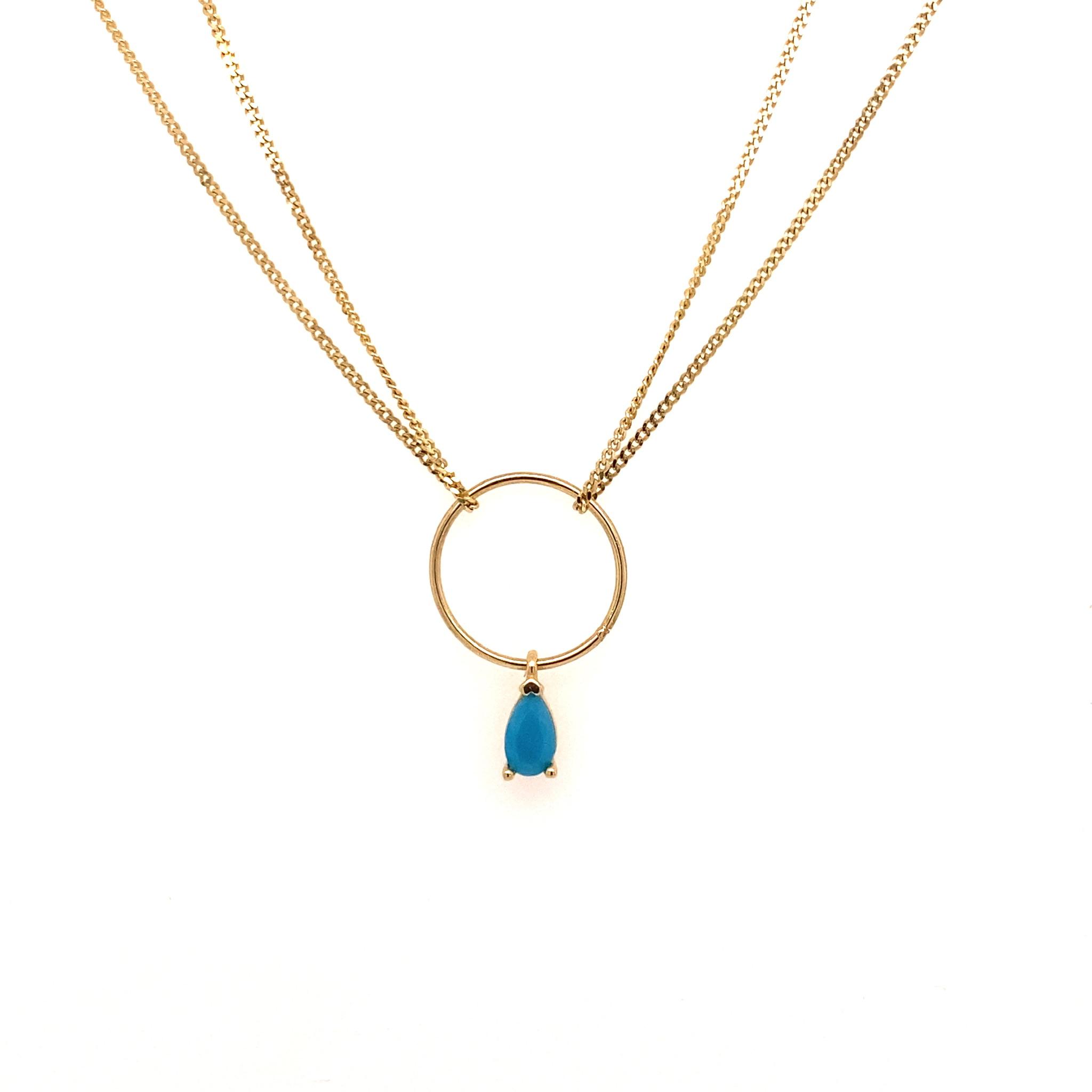 585 Gold Kette | blauer Stein